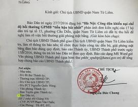 Chủ tịch TP Hà Nội chỉ đạo xử lý khiếu nại của người dân quận Nam Từ Liêm