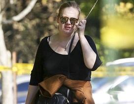"""Adele để mặt """"mộc"""", mặc quần jeans đưa con trai đi chơi"""