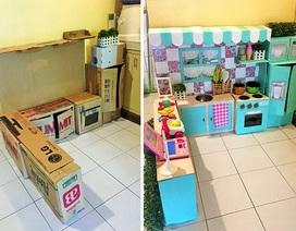 Làm tủ bếp cho bé từ thùng các-tông cũ