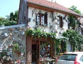 Độc đáo tiệm hoa được trang trí bằng toàn bình tưới