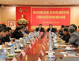Chủ tịch nước Trương Tấn Sang thăm và làm việc với ĐH Quốc gia Hà Nội