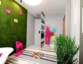 Không gian nội thất xanh mướt mắt với cỏ nhân tạo