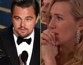 Kate Winslet nghẹn ngào chứng kiến Leonardo DiCaprio nhận giải Oscar