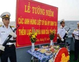 Tưởng niệm các liệt sĩ hy sinh tại Vùng thềm lục địa phía Nam Tổ quốc
