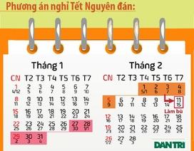 Infographics: Đề xuất lịch nghỉ Tết, Giỗ Tổ Hùng Vương và Quốc khánh 2/9 năm 2017