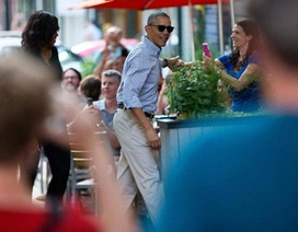 Dân Mỹ thích thú với hình ảnh ông Obama dẫn vợ đi ăn tiệm