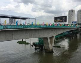Hợp long cầu vượt sông Sài Gòn thuộc tuyến metro đầu tiên