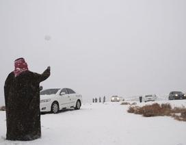 Người dân kinh ngạc khi thấy tuyết rơi giữa... sa mạc