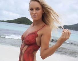 Công chúa làng quần vợt gây sốc với ảnh áo tắm bằng màu vẽ