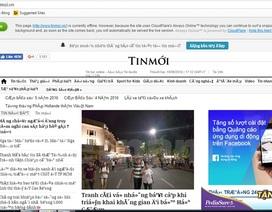Website báo nguoiduatin, doisongphapluat, techz.vn gặp sự cố
