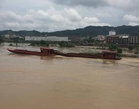 Hàng chục thuyền máy cỡ lớn bị lũ sông Hồng cuốn trôi
