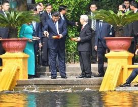 Chủ tịch Trung Quốc Tập Cận Bình cho cá ăn trong khu Nhà sàn Bác Hồ