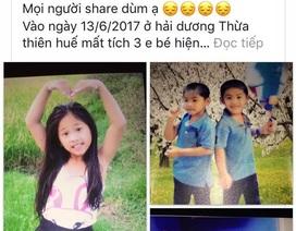"""Nhờ Facebook, nhanh chóng tìm được 3 đứa trẻ """"mất tích"""""""