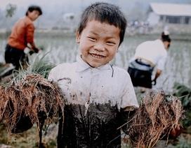 Nụ cười hồn nhiên của em bé Y Tý lấm lem bùn đất