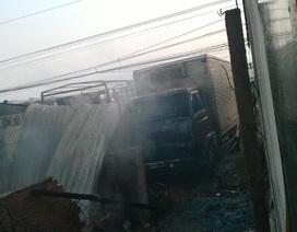 Cháy lớn thiêu rụi 1 căn nhà và 4 xe tải
