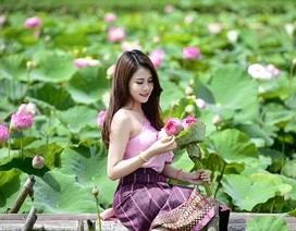 Nữ sinh Lào quyến rũ bên hoa sen Việt