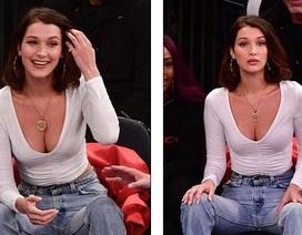 Bella Hadid khoe ngực đầy khi đi xem bóng rổ