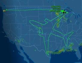 Máy bay Boeing 787 vẽ hình máy bay khổng lồ trên bầu trời nước Mỹ