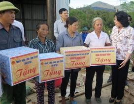 Phó Chủ tịch nước Đặng Thị Ngọc Thịnh trao quà cho người dân vùng bão