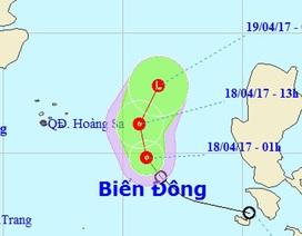 Áp thấp nhiệt đới đang tiến về quần đảo Hoàng Sa