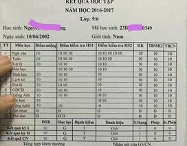 """Bảng điểm tổng kết toàn 10 của học sinh lớp 9: Giả mạo để """"câu like"""""""
