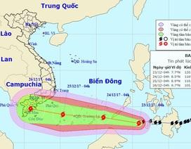 Đêm nay bão Tembin vào Biển Đông