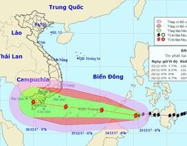 Bão Tembin được dự báo sẽ rất mạnh khi vào khu vực Nam Bộ