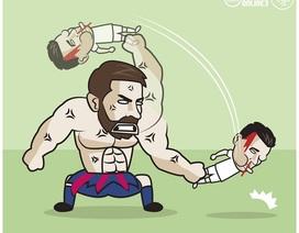 """Góc biếm họa: Messi """"hành hạ"""" C.Ronaldo"""