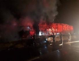 Xe chở gỗ bốc cháy ngùn ngụt trên quốc lộ