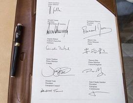 """""""Soi"""" chữ ký của các nguyên thủ G7"""