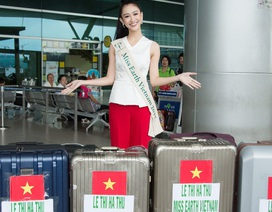"""""""Choáng"""" với lượng hành lý """"khủng"""" Hà Thu mang sang Philippines tham gia Miss Earth"""