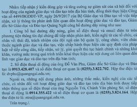 Sở GD&ĐT tỉnh Quảng Ngãi công bố đường dây nóng