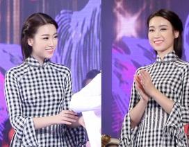 Hoa hậu Đỗ Mỹ Linh nổi bật với áo dài họa tiết khăn rằn