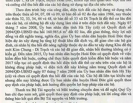 Bộ TN&MT đề nghị TP Hà Nội làm rõ khiếu nại của người dân!
