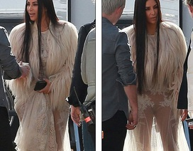 Cô Kim diện váy xuyên thấu quay phim