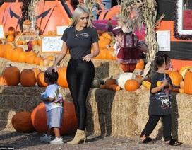 Hai nhóc tì đáng yêu của Kim Kardashian đi thăm vườn bí ngô