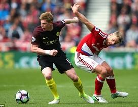 Man City vất vả kiếm một điểm trên sân Middlesbrough