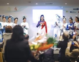 Hoa hậu Ngọc Hân tự hào giới thiệu áo dài Việt tại trụ sở UNESCO