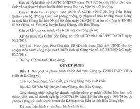 """Bắc Giang: Thêm một công ty may """"bức tử"""" môi trường nhận án phạt"""