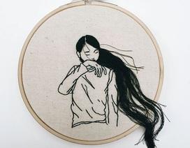Vẻ đẹp mái tóc người phụ nữ qua các bức tranh thêu 3D