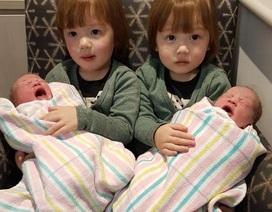 Thú vị cặp anh em sinh đôi đón các em gái sinh đôi chào đời