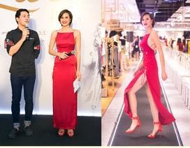 Phương Mai sexy với đầm xẻ cao đến hông bên MC Phan Anh