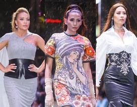 Thanh Hà, Nguyễn Thị Loan cùng trình diễn thời trang dưới mưa