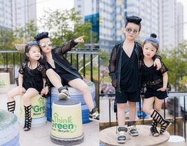 Mẫu nhí sành điệu với thời trang tông đen cực chất