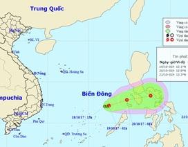 Vùng áp thấp đang di chuyển ra khỏi Biển Đông