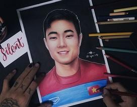 Chàng trai dành 12 tiếng vẽ chân dung đội trưởng Lương Xuân Trường
