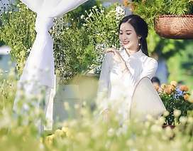 Hoa khôi Imiss Thăng Long 2017 dịu dàng với cúc họa mi