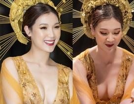 Hoa hậu Phí Thùy Linh sợ ông xã đại gia mắng vì hở ngực hết cỡ làm vedette