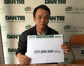 Hơn 255 triệu đồng đến với cậu bé Dương bị ung thư máu