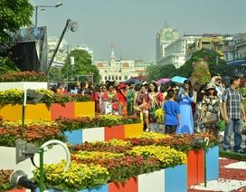 Người Sài Gòn du xuân sớm trên đường hoa Nguyễn Huệ